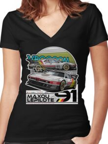 Maxou LePilote - Classic Cars  Women's Fitted V-Neck T-Shirt