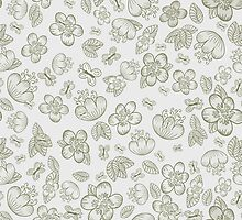 Floral Seamless Cute Pattern by Olga Altunina