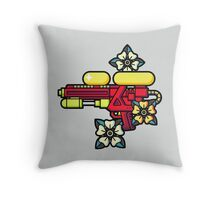 Flowers and watergun Throw Pillow