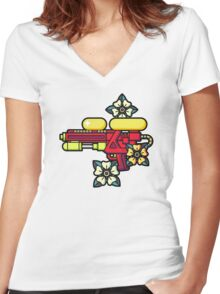 Flowers and watergun Women's Fitted V-Neck T-Shirt