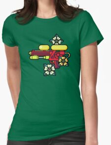 Flowers and watergun Womens Fitted T-Shirt