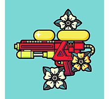 Flowers and watergun Photographic Print