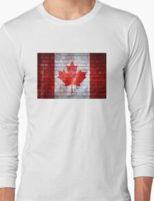 Canada flag painted on old brick wall texture background Long Sleeve T-Shirt