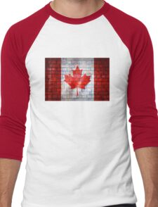 Canada flag painted on old brick wall texture background Men's Baseball ¾ T-Shirt