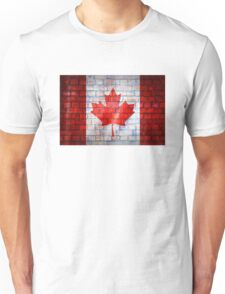 Canada flag painted on old brick wall texture background Unisex T-Shirt
