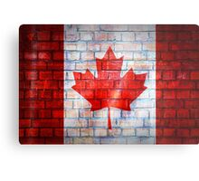 Canada flag painted on old brick wall texture background Metal Print