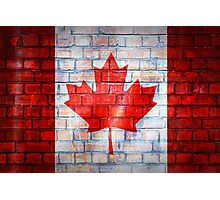 Canada flag painted on old brick wall texture background Photographic Print