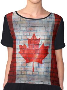 Canada flag painted on old brick wall texture background Chiffon Top