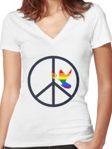 peace & love Women's Fitted V-Neck T-Shirt