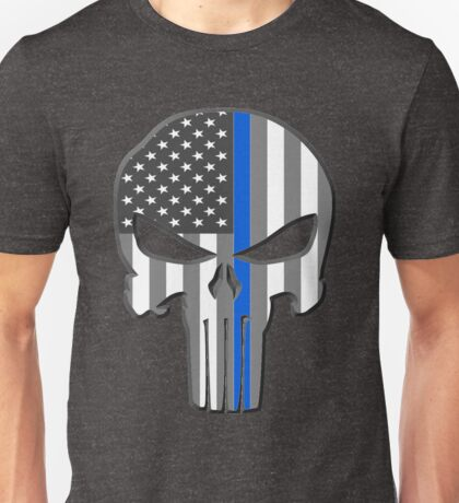 American Skull Thin Blue Line  Unisex T-Shirt
