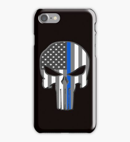 American Skull Thin Blue Line  iPhone Case/Skin