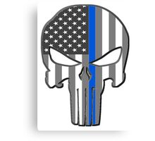 American Skull Thin Blue Line  Canvas Print