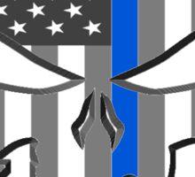 American Skull Thin Blue Line  Sticker