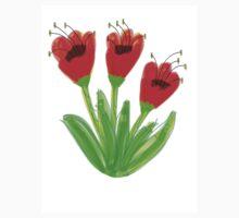 Bright Red Garden Tulips Kids Tee