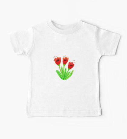 Bright Red Garden Tulips Baby Tee
