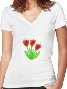 Bright Red Garden Tulips Women's Fitted V-Neck T-Shirt