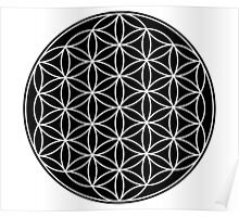 The Flower of Life - white symbol and patterns in dark background Poster