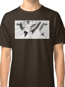 Black And White Marbled World Map - Sharon Cummings Classic T-Shirt