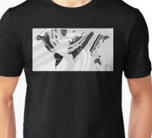Black And White Marbled World Map - Sharon Cummings Unisex T-Shirt