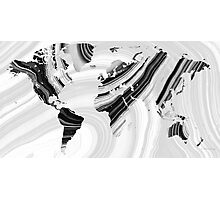 Black And White Marbled World Map - Sharon Cummings Photographic Print