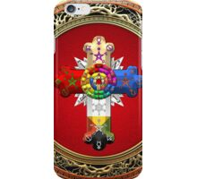 Rosy Cross - Rose Croix in Gold on Red  iPhone Case/Skin