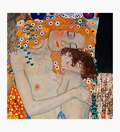 Gustav Klimt, mother and child,reproduction,art nouveau,great art from vintage painters Photographic Print