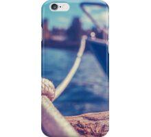 Retro Yacht In Harbor iPhone Case/Skin