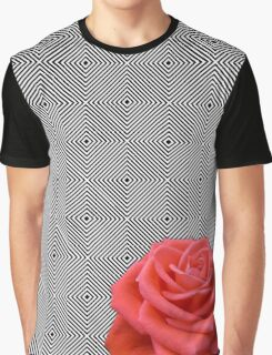 bw squares and pink rose Graphic T-Shirt