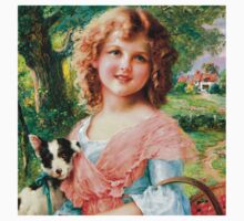 cute vintage girl and dog,victorian art,reproduction,beautiful,pretty,adorable One Piece - Short Sleeve