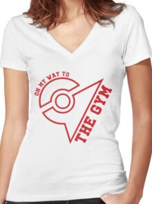 (Outlines) ON MY WAY TO THE GYM - Valor Women's Fitted V-Neck T-Shirt