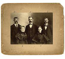 Mrs. Mary J. Aikins, Mrs. Anna E. Aikins, Dr. J.R. Tweed, W.J. Tweed, D.S. Tweed, Logan County, Ohio Photographic Print