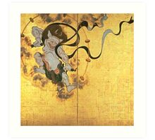 Fujin Raijin-zu (Picture of Wind and Thunder Gods), early Edo period, two panels. National Treasure, Kyoto National Museum Art Print