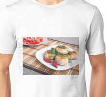 Chicken meatballs of minced meat and a salad of raw tomatoes Unisex T-Shirt
