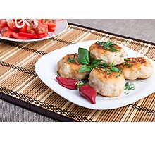 Chicken meatballs of minced meat and a salad of raw tomatoes Photographic Print
