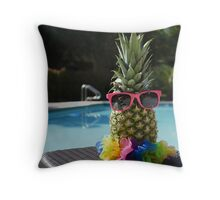 Pineapple by the pool Throw Pillow