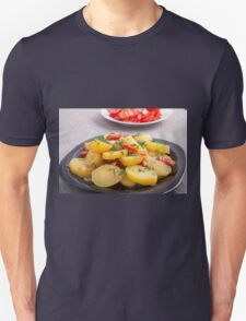 Stew of potatoes with onion, bell pepper and fennel Unisex T-Shirt