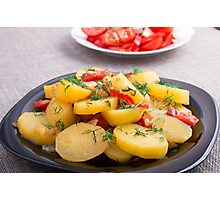 Stew of potatoes with onion, bell pepper and fennel Photographic Print