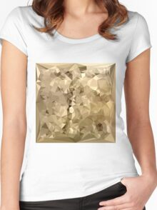 French Beige Abstract Low Polygon Background Women's Fitted Scoop T-Shirt