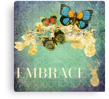 teal,grunge,vintage collage,butterflies,rustic,worn,background Canvas Print