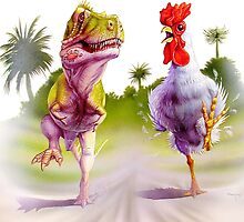 t-rex chicken run by Audrey Metcalf