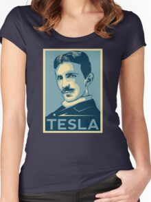 Tesla Poster Women's Fitted Scoop T-Shirt