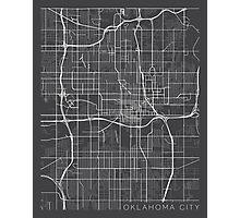 Oklahoma City Map, USA - Gray Photographic Print