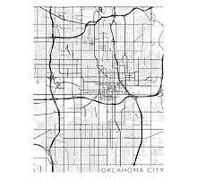 Oklahoma City Map, USA - Black and White Photographic Print