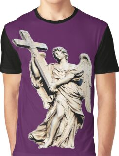 angel statue holding a big cross,faith,religion,christian,angel Graphic T-Shirt