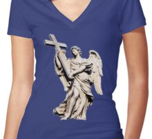 angel statue holding a big cross,faith,religion,christian,angel Women's Fitted V-Neck T-Shirt