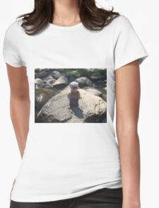 Brickography - On a Rock Womens Fitted T-Shirt