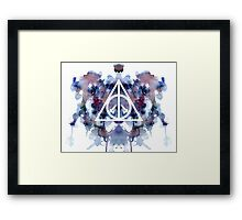 HP Deathly Hallows Galaxy Watercolor Framed Print