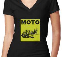 Moto-Lime Women's Fitted V-Neck T-Shirt