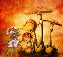 PINK PETALS AND ORANGE MUSHROOMS 2 by Tammera