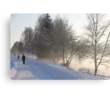 Cold winters day along the river Glomma, Elverum, Norway. Canvas Print